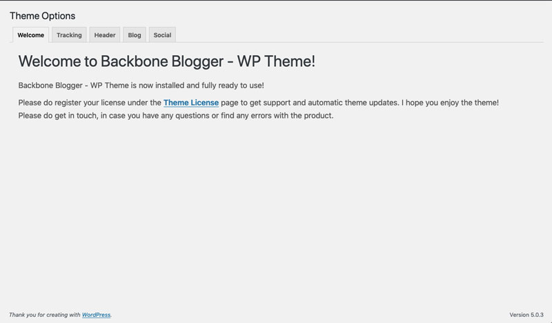 Welcome tab of the Theme Options page.