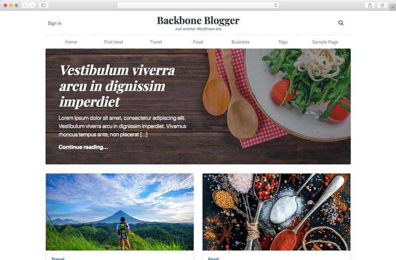 Backbone Blogger WordPress theme